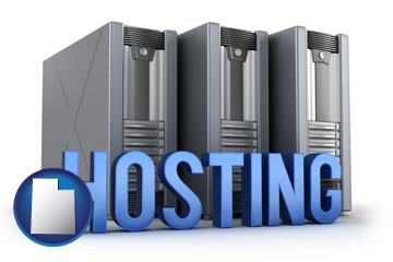 web site hosting servers and a caption - with Utah icon