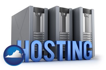 web site hosting servers and a caption - with Virginia icon