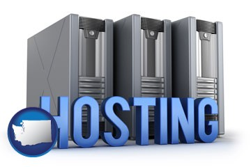 web site hosting servers and a caption - with Washington icon