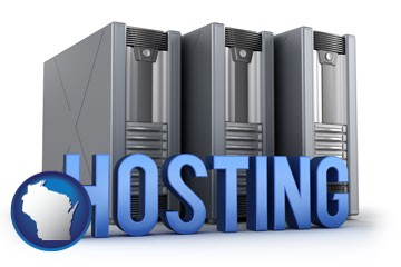 web site hosting servers and a caption - with Wisconsin icon