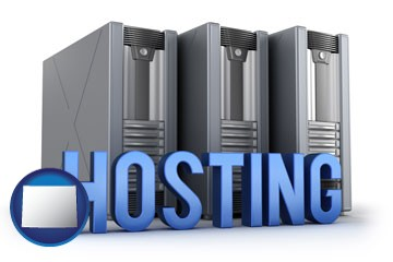 web site hosting servers and a caption - with Wyoming icon